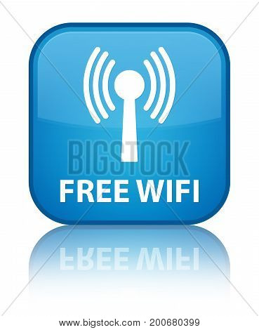 Free Wifi (wlan Network) Special Cyan Blue Square Button