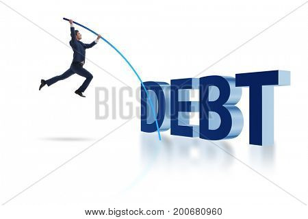 Businessman vault jumping over debt