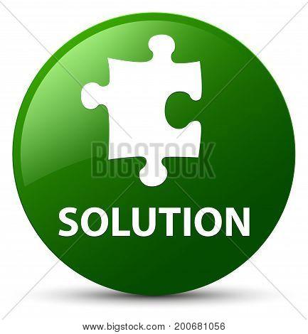 Solution (puzzle Icon) Green Round Button
