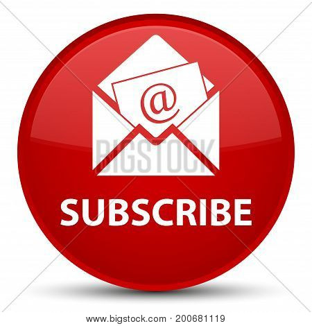 Subscribe (newsletter Email Icon) Special Red Round Button