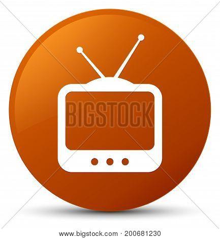 Tv  Icon Brown Round Button