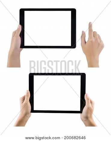 Touch screen tablet computer with hand set isolated. Hands holding tablet set on white background