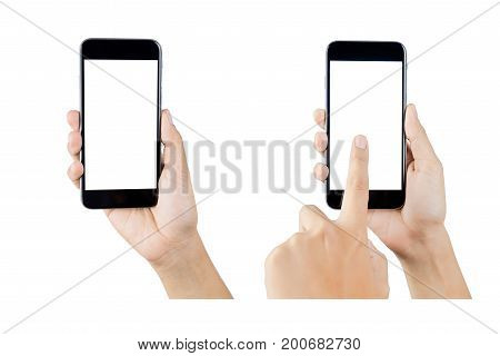 hand holding smartphone blank screen isolated. hand using smartphone on white. hand using smartphone isolated. hand using black color smartphone. woman hand using smartphone. hand holding smartphone. black color smartphone. smartphone hand. smartphone