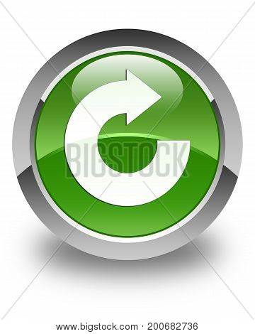 Reply Arrow Icon Glossy Soft Green Round Button