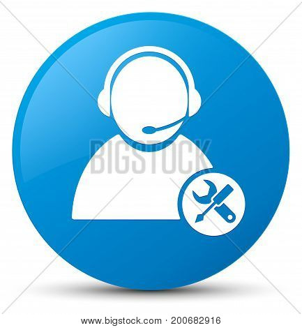 Tech Support Icon Cyan Blue Round Button