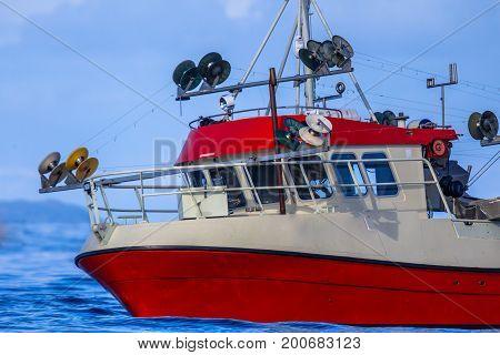 Wheel House Of Mackerel Hook Line Fishing Vessel