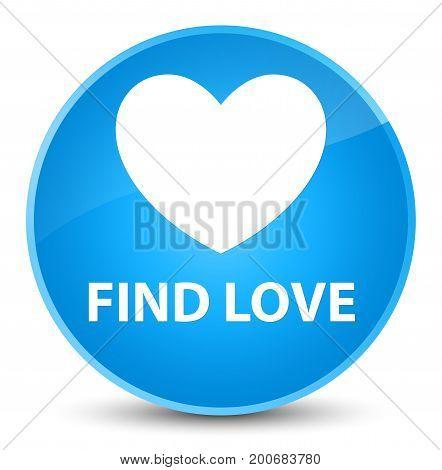 Find Love Elegant Cyan Blue Round Button