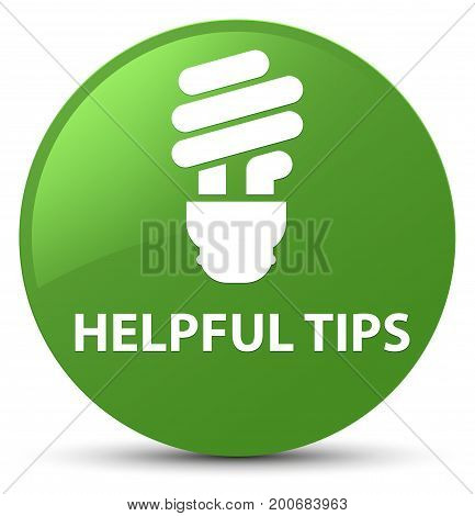 Helpful Tips (bulb Icon) Soft Green Round Button