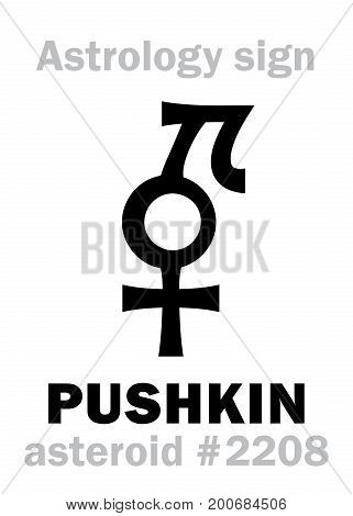 Astrology Alphabet: PUSHKIN, asteroid #2208. Hieroglyphics character sign (single symbol).