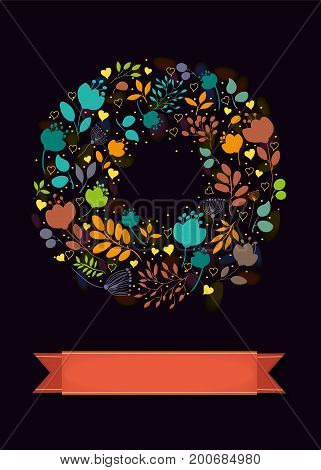 Graceful Floral Greeting Card. Ring of bright colorful hearts and flowers. Red banner for custom text. Black background