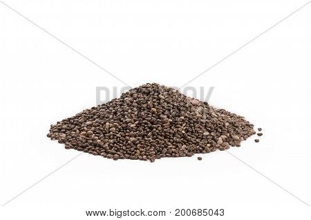 a heap of organic chia seeds rich in omega-3 fatty acids, side view on white