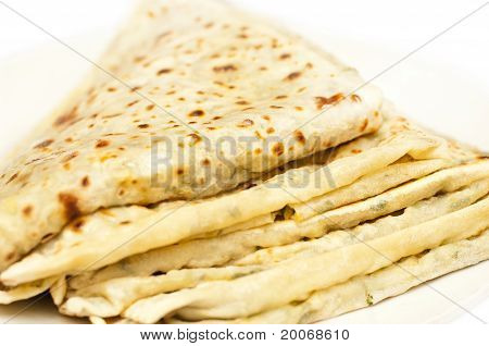 Gutab. Traditional Flat Unleavened Wheat Bread, Filled With Meat And Vegetables
