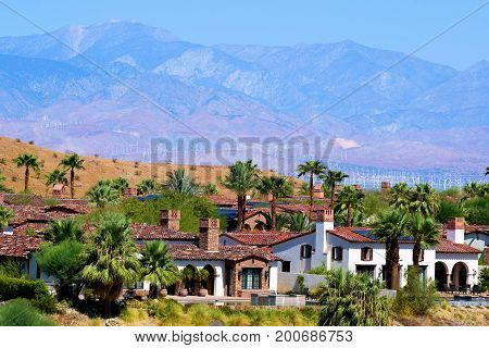 Contemporary style homes overlooking the desert and mountains taken in Palm Springs, CA