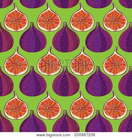 Vector seamless pattern with outline Common Fig or Ficus carica fruit and slice on the green background. Fruit pattern with subtropical plant in contour style for exotic summer design.