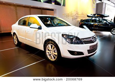 Moscow, Russia - August 25:  White Car Opel Astra At Moscow International Exhibition Interauto On Au