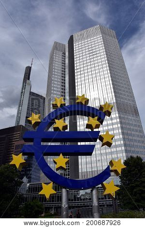 Frankfurt am Main Germany - Aug 2 2017. Euro sign outside the European Central Bank. European Central Bank (ECB) is the central bank for the euro and administers the monetary policy of the Eurozone