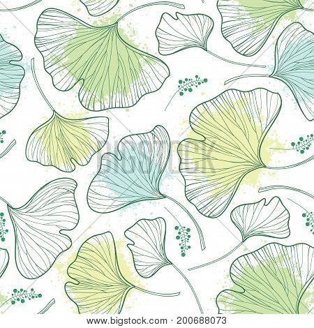 Vector seamless pattern with outline Gingko or Ginkgo biloba leaves and blot in pastel green on the white background. Floral pattern with Gingko foliage in contour style for summer design.