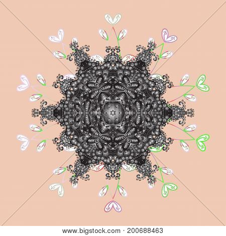 Contour mandala shaped snowflakes for art therapy style zen drawing. Hand-drawn stylish doodle in tatto style fabric design and cards in Vector illustration.
