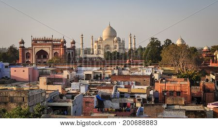 Aerial View Of Taj Mahal And Agra City In India