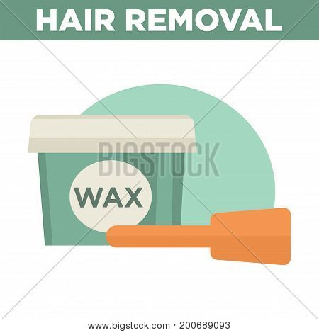 Hair removal commercial with big plastic container of wax and special wooden tool for mixing isolated vector illustration on white background. Liquid substance for beauty procedures for body.