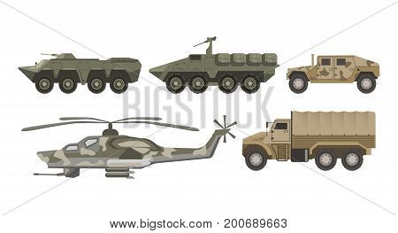 Military transport and army aviation or wartime truck machines of helicopter, bomb weapon tank, armored camouflage cars and aircraft vehicles. Vector isolated flat icons set