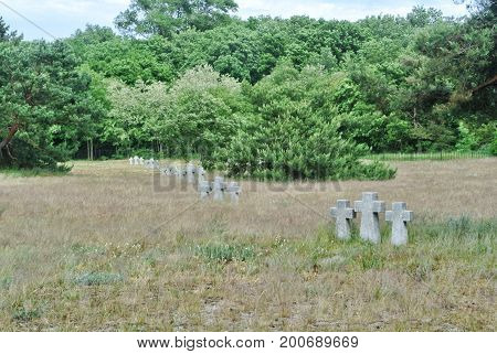 A View To Old Stone Crosses And Trees In The Dry Autumn Grass At The Old German Cemetery Of The Seco