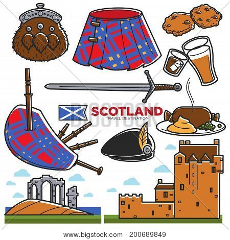 Scotland travel tourism symbols and famous culture landmarks or attractions. Scottish flag, man kilt skirt and bagpipes, ancient king sword, ale beer, food and old architecture castle. Vector isolated icons set
