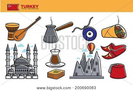 Turkey travel destination promotional poster. Traditional musical instruments, metal cezve, evil eye amulet, unusual delicious cuisine, authentic architecture and red fez vector illustrations.