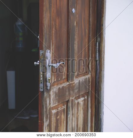 Old Wooden Door Open Street Photography Stock