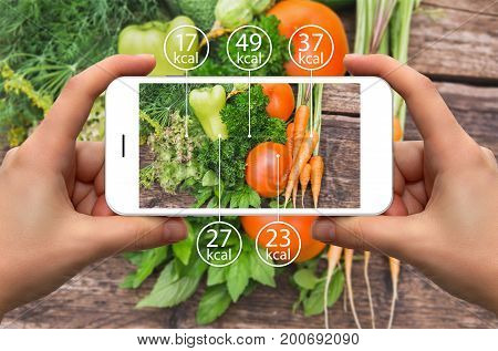 Smartphone in hand with information of calories in vegetables.