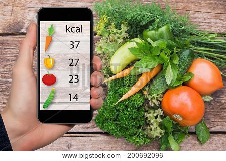 Smartphone in hand with information on the amount of calories in vegetables.