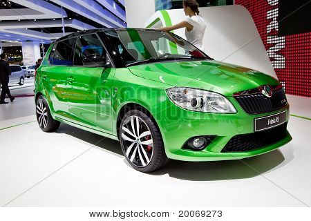 Moscow, Russia - August 25:  Green Car Skoda Fabia At Moscow International Exhibition Interauto On A