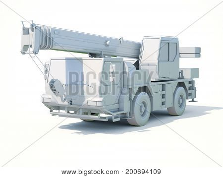 3d render: Truck Mounted Crane on White Background