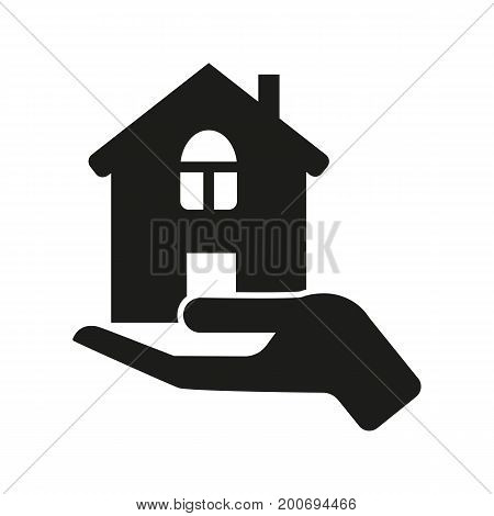 Simple icon of hand holding house. House insurance, mortgage, selling house. Warrant concept. Can be used for topics like construction, business, insurance