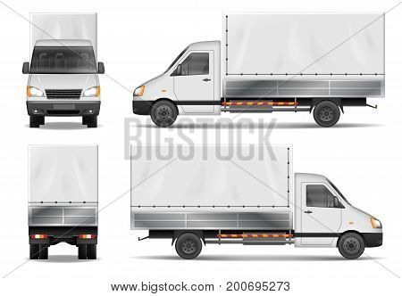 Delivery truck vector template. Semi truck isolated on white. The ability to easily change the color. View from side, back, front, top. All sides in groups on separate layers.