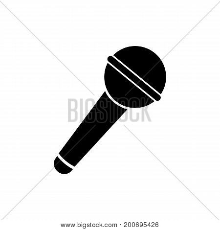 Simple icon of microphone. Karaoke, singing, music equipment. Music concept. Can be used for topics like entertainment, sound, technology