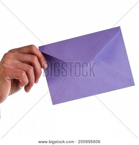 Businessman holds a lilac envelope isolated on a white background