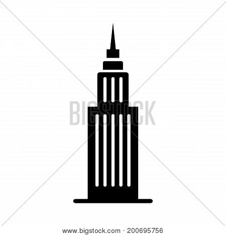 Simple icon of high office building. Empire State building, tower, famous place. Infrastructure concept. Can be used for topics like business, travel, architecture