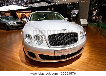 Moscow, Russia - August 25: Grey Car Bentley Continental At Moscow International Exhibition Interaut