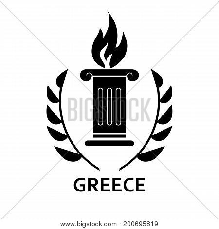 Simple icon of Olympic torch with laurel wreath and Greece lettering. Olympic games, sport, tourism. Travel concept. Can be used for greeting cards, postcards and travel guides