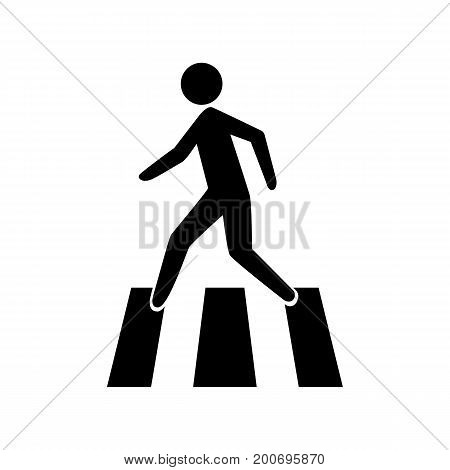 Simple icon of pedestrian on crossing. Traffic regulations, road sign, crosswalk. Infrastructure concept. Can be used for information boards, road signs and web pictograms