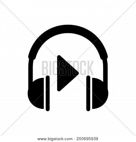 Simple icon of play sign and headphones. Play music, media player, mp3 player. Music concept. Can be used for internet and application icons and web pictograms