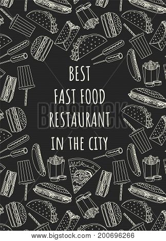 Best fast food cafe or restaurant poster with outline fast food symbols and place for name or inscription in the center. Vector illustration for fastfood banner, cover, menu design