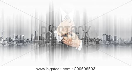 Double exposure businessman with panoramic Bangkok cityspace background