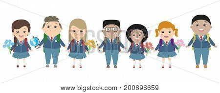Students school children on a white background back to school. Children in school uniform. Multinational. School. Vector cartoons