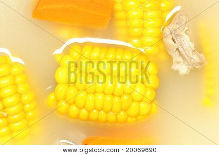 closeup of delicious corn soup