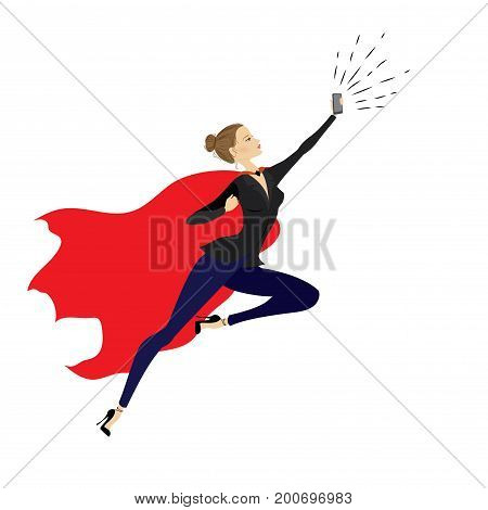 Super Heroine With Mobile Phone