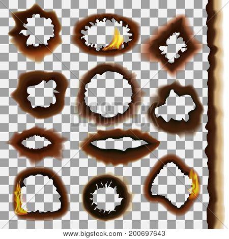 Burned Paper on a Transparent Background Set Decorative Effect for Web Design. Vector illustration of different burning papers