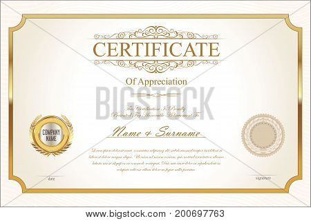 Certificate Or Diploma Retro Template 07.eps