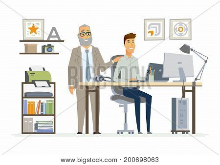 Supervising Staff - vector illustration of a business situation. Cartoon people characters of senior, young men at work. Manager, boss encouraging, tapping on shoulder subordinate, trainee, freshman